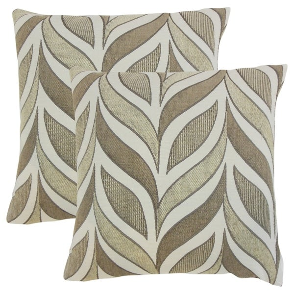 Set of 2 Veradis Geometric Throw Pillows in Driftwood