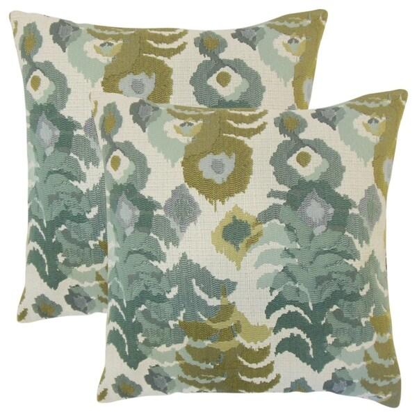 Set of 2 Henriette Ikat Throw Pillows in Lagoon