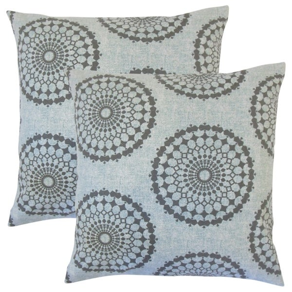 Set of 2 Elyes Geometric Throw Pillows in Rain