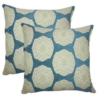 Set of 2  Quitzal Geometric Throw Pillows in Aqua Green