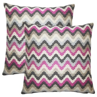 Set of 2 Oya Zigzag Throw Pillows in Stone