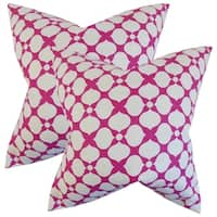 Set of 2  Qiturah Geometric Throw Pillows in Raspberry