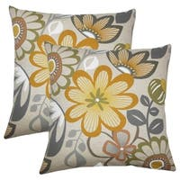 Set of 2  Elea Floral Throw Pillows in Greystone