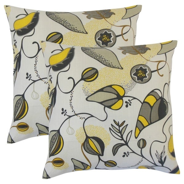 Set of 2 Qiana Floral Throw Pillows in Citrine