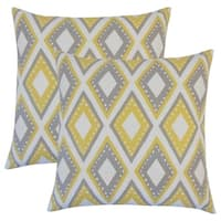 Set of 2  Shasa Geometric Throw Pillows in Dandelion
