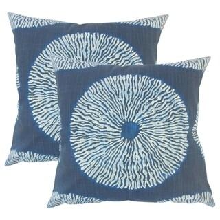 Set of 2  Talmai Ikat Throw Pillows in Indigo