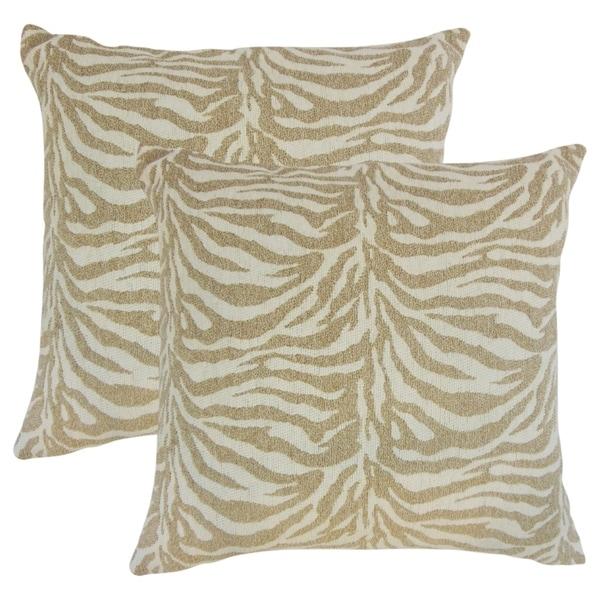 Set Of 2 Ksenia Animal Print Throw Pillows In Siberian