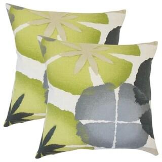 Set of 2  Samiya Floral Throw Pillows in Ultramarine