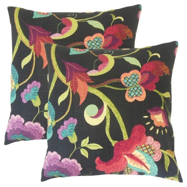 Set Of 2 Hesperia Floral Throw Pillows In Black Cherry
