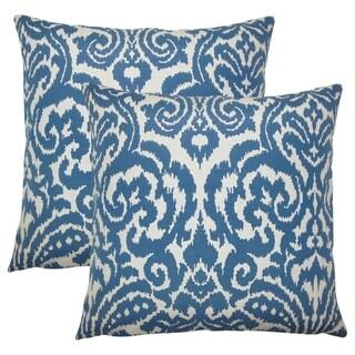 Set of 2  Wafai Ikat Throw Pillows in Aegean