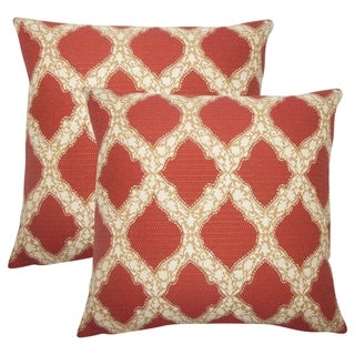 Set of 2  Rajiya Geometric Throw Pillows in Cayenne