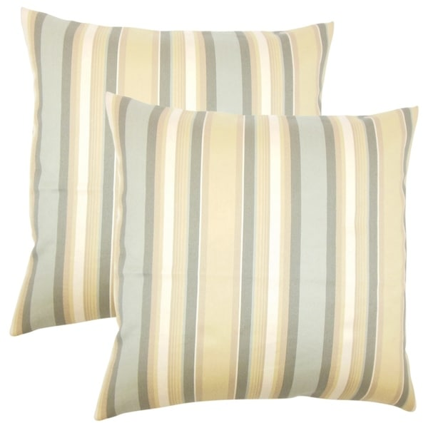Set of 2 Tefo Striped Throw Pillows in Dune