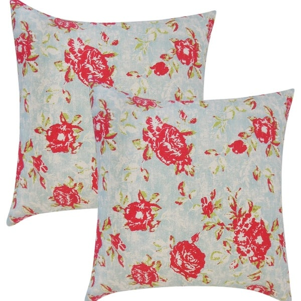 Shop Set Of 40 Nanne Floral Throw Pillows In Poppy Free Shipping Extraordinary Poppy Floral Decorative Pillows