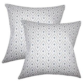 Set of 2  Abhinav Geometric Throw Pillows in Gray