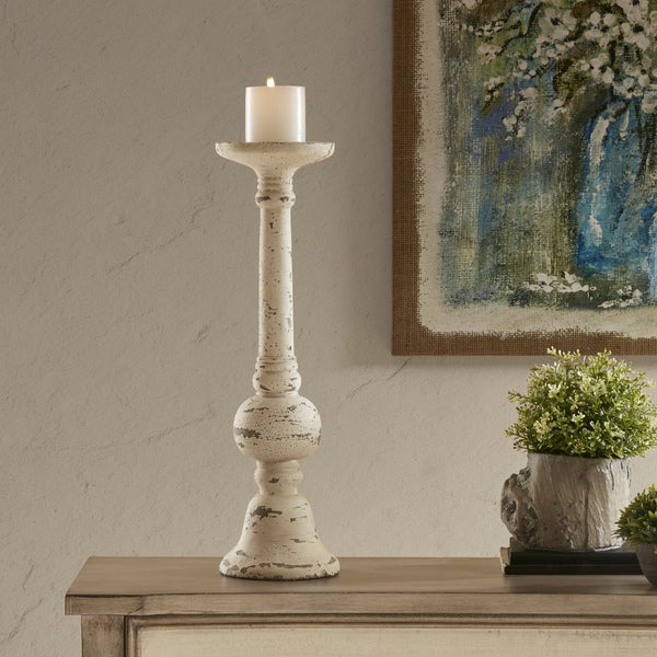 Magnificent Shop Madison Park Tivoli White Cement Candleholder Large Interior Design Ideas Gentotryabchikinfo