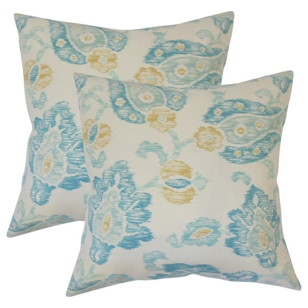 Set of 2 Maaile Floral Throw Pillows in Turquoise
