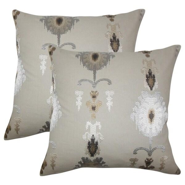 Set of 2 Calico Ikat Throw Pillows in Mushroom