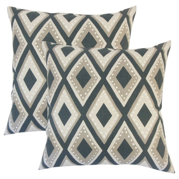 Set of 2 Shasa Geometric Throw Pillows in Ink