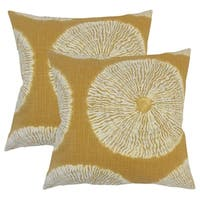 Set of 2  Talmai Ikat Throw Pillows in Amber