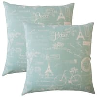 Set of 2  Dalayne Typography Throw Pillows in Light Blue