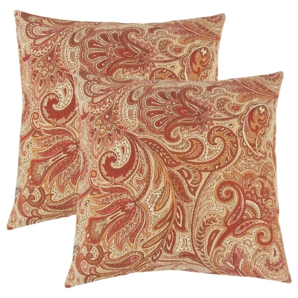 Awesome Set Of 2 Vilette Paisley Throw Pillows In Bittersweet
