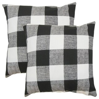 Set of 2  Alfonso Plaid Throw Pillows in Black White