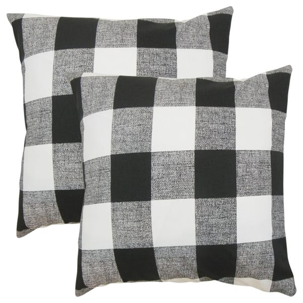 Miraculous Set Of 2 Alfonso Plaid Throw Pillows In Black White Frankydiablos Diy Chair Ideas Frankydiabloscom