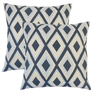 Set of 2  Shasa Geometric Throw Pillows in Midnight