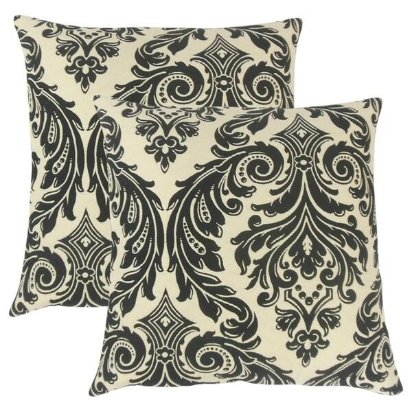 Set of 2 Jovita Damask Throw Pillows in Onyx