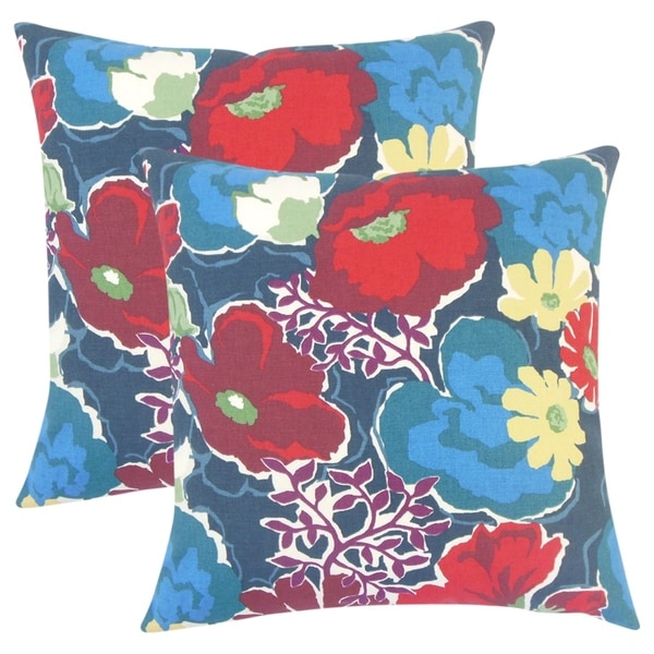 Shop Set Of 40 Urijah Floral Throw Pillows In Poppy On Sale Free Best Poppy Floral Decorative Pillows