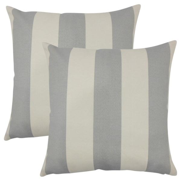 Set of 2 Kanha Striped Throw Pillows in Gray Beachwood