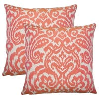 Set of 2  Wafai Ikat Throw Pillows in Coral