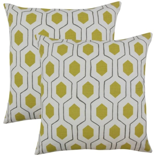 Set of 2 Flynn Geometric Throw Pillows in Chartreuse
