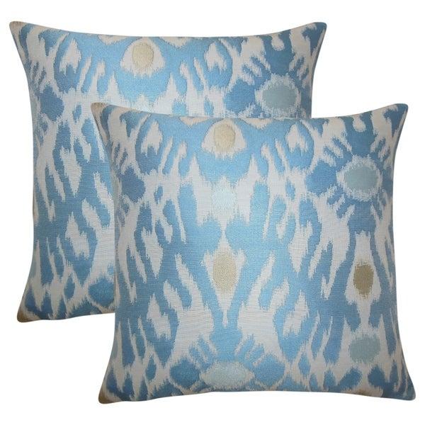 Set of 2 Yagmur Ikat Throw Pillows in Chambray