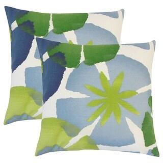 Set of 2  Samiya Floral Throw Pillows in Leaf