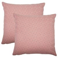 Set of 2  Reijo Geometric Throw Pillows in Carnation