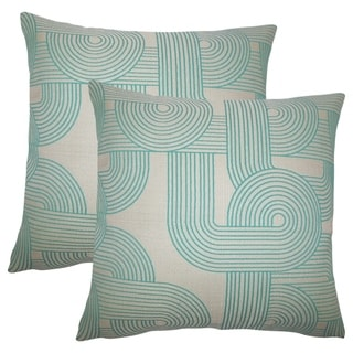 Set of 2  Utara Geometric Throw Pillows in Turquoise
