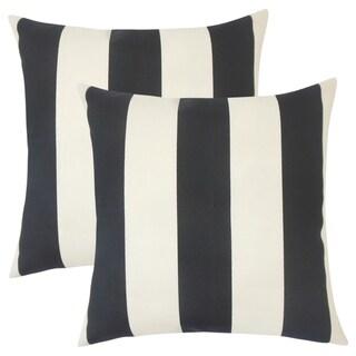 Set of 2  Kanha Striped Throw Pillows in Ebony