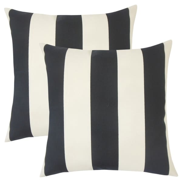 Set of 2 Kanha Striped Throw Pillows in Ebony