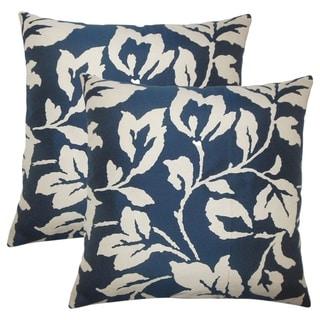 Set of 2  Solana Floral Throw Pillows in Lapis