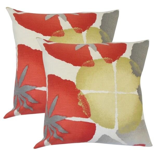 Set of 2 Samiya Floral Throw Pillows in Coral