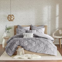 Urban Habitat Callie Grey Embroidered 7-piece King/ Cal-King Duvet Cover Set With Pintuck Detailing in Grey (As Is Item)