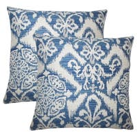 Set of 2  Ingalill Ikat Throw Pillows in Indigo