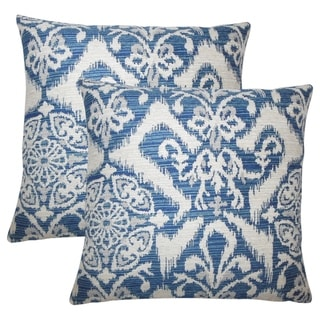 Set of 2  Ingalill Ikat Throw Pillows in Indigo