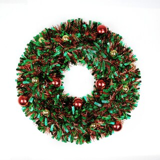 20In Christmas Tinsel Wreath-Green
