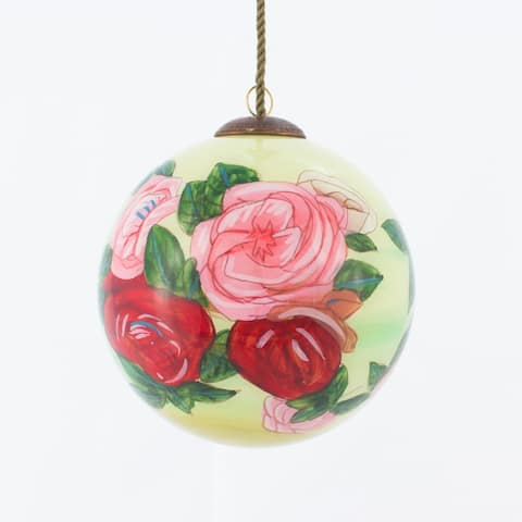 Pierre-Auguste Renoir 'Discarded Roses' Hand Painted Glass Ornament