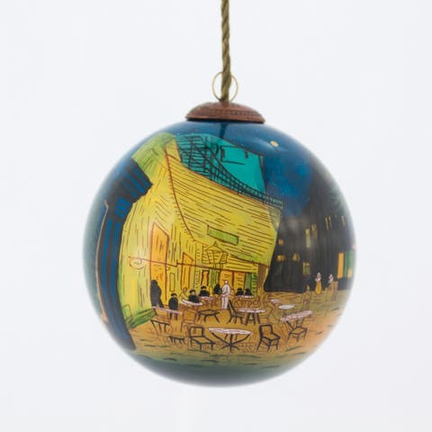 Vincent Van Gogh 'Cafe Terrace at Night' Hand Painted Glass Ornament