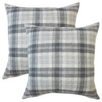 Set of 2  Umber Plaid Throw Pillows in Charcoal