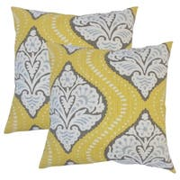 Set of 2  Yantse Ikat Throw Pillows in Dandelion