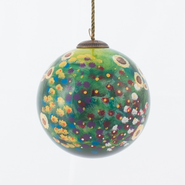Gustav Klimt 'Farm Garden with Sunflowers' Hand Painted Glass Ornament. Opens flyout.